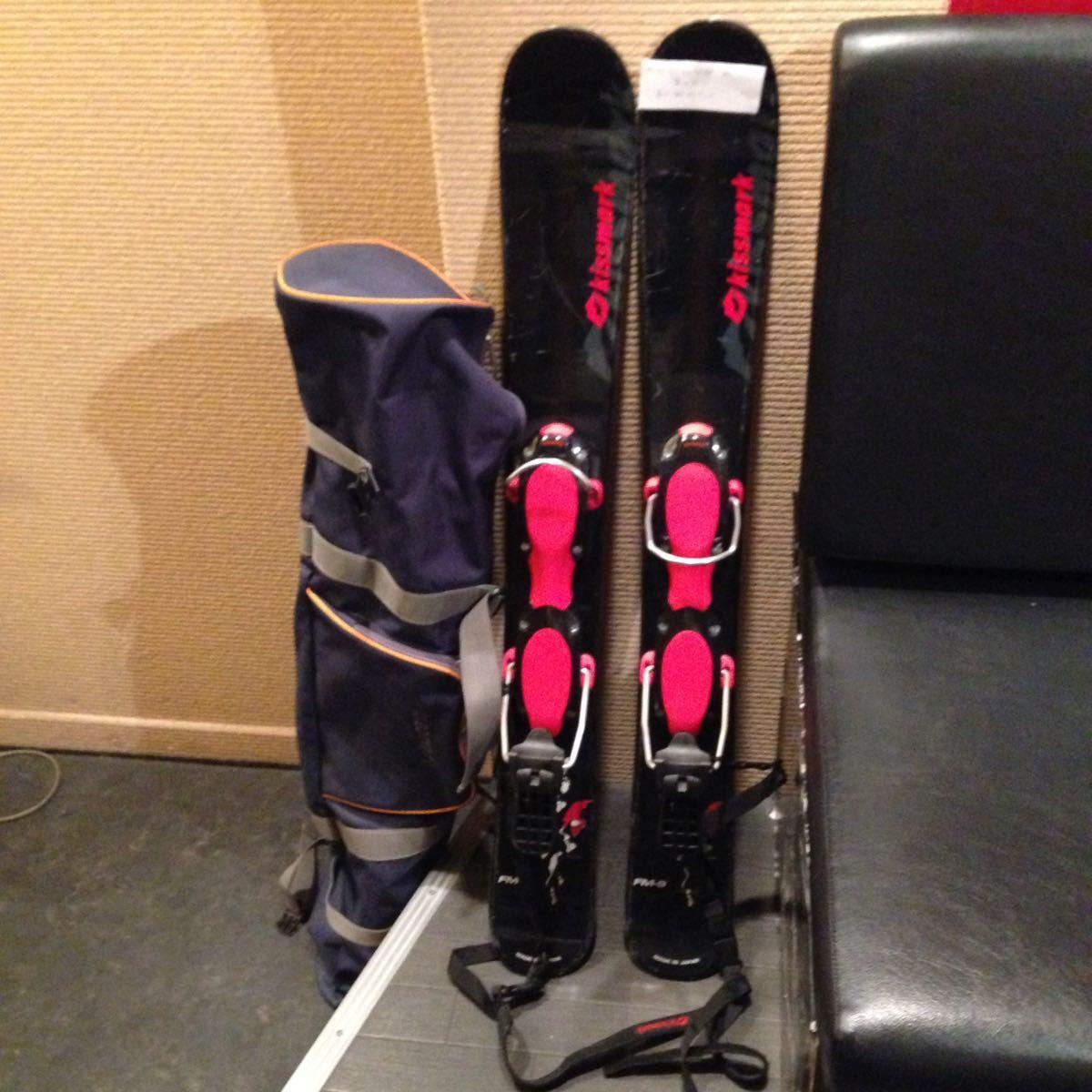 キスマーク ショートスキー板 黒×赤 収納ケース付き 長さ約 98.5cm_画像1