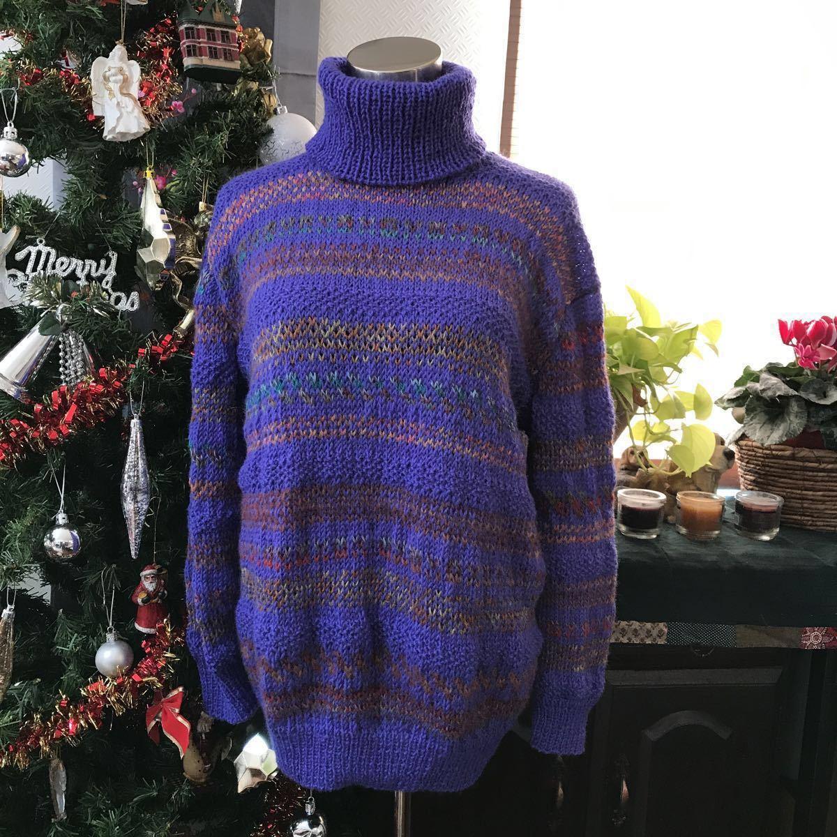 手編み 綺麗な色の編み込みセーター