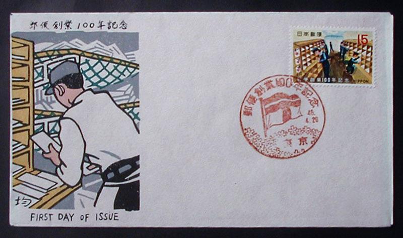 FDC 1971年(昭和46年)郵便創業100年記念 松屋木版 #3 大塚均 東京特印_画像1