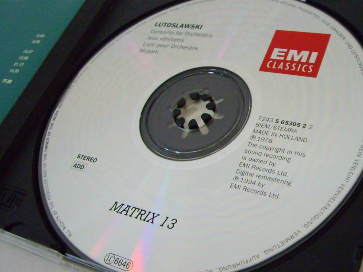 【EMI Matrix】ルトスワフスキ自作自演集ミ・パルティ管弦楽のための協奏曲/本_画像3