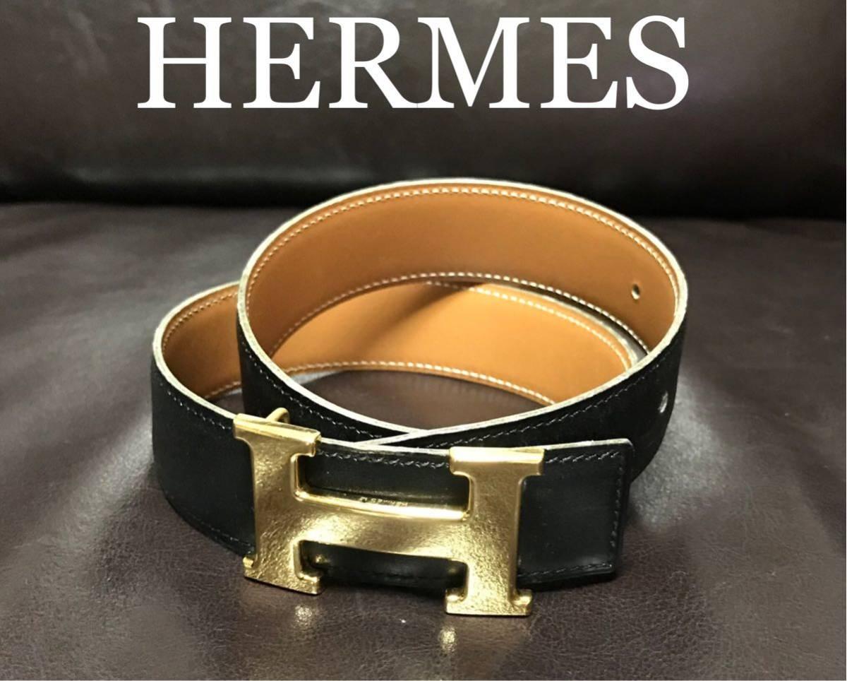 1円 大特価 正規品◆◆HERMES エルメス 送料無料 ベルト 良品◆◆ゴールド メンズ Hバックル 黒 ブランド