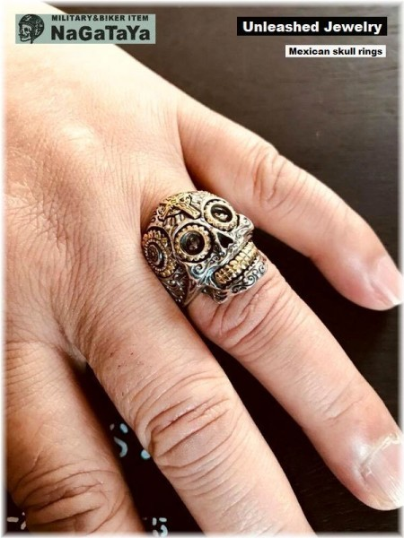 アンリーシュトジュエリー Unleashed Jewelry シルバー925 メキシカンスカルリング 十字架 トライバル模様 指輪 スターリングシルバー 20号_画像1