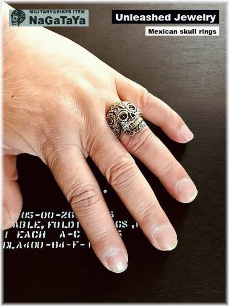 アンリーシュトジュエリー Unleashed Jewelry シルバー925 メキシカンスカルリング 十字架 トライバル模様 指輪 スターリングシルバー 20号_画像6
