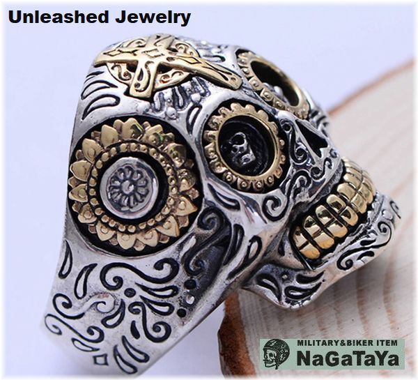 アンリーシュトジュエリー Unleashed Jewelry シルバー925 メキシカンスカルリング 十字架 トライバル模様 指輪 スターリングシルバー 20号_画像4