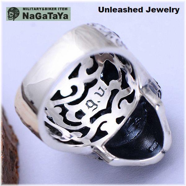 アンリーシュトジュエリー Unleashed Jewelry シルバー925 メキシカンスカルリング 十字架 トライバル模様 指輪 スターリングシルバー 20号_画像2