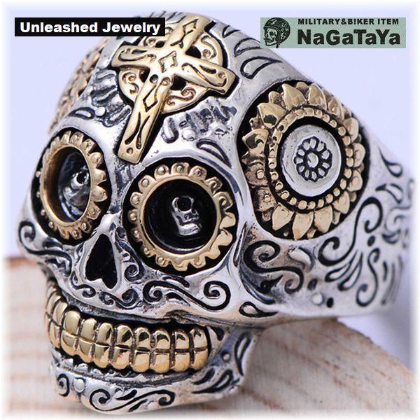 アンリーシュトジュエリー Unleashed Jewelry シルバー925 メキシカンスカルリング 十字架 トライバル模様 指輪 スターリングシルバー 20号_画像5