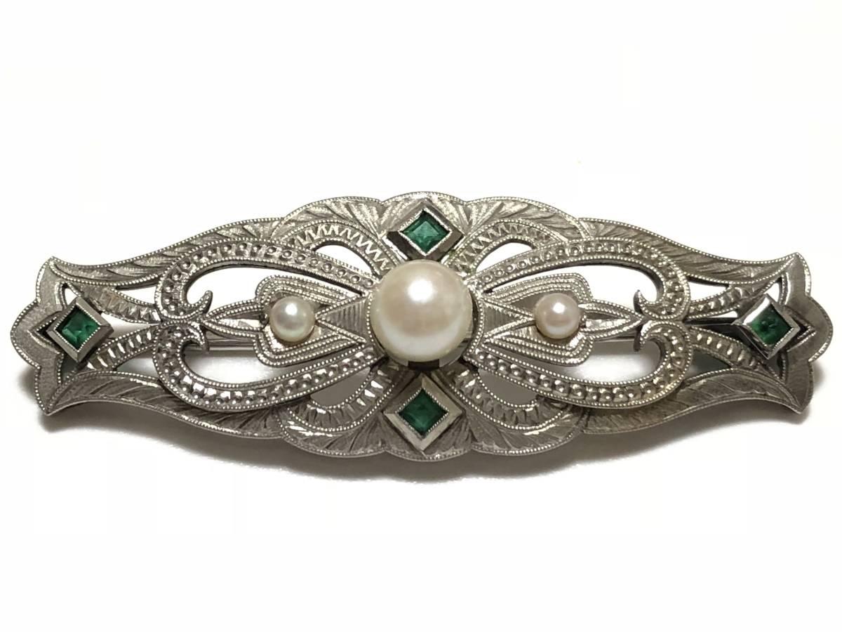 アンティーク 本真珠 エメラルド 彫金 9.3g 透かし細工 ブローチ