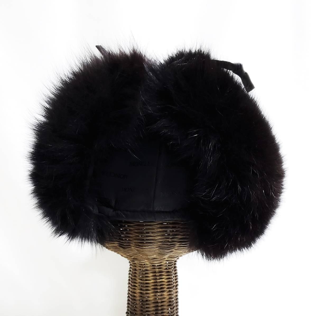 希少 新品同様 モンクレール MONCLER ボリュームファーが素敵な フォックス ファー 耳当て付き 帽子 パイロット キャップ 黒 フリーサイズ _画像5