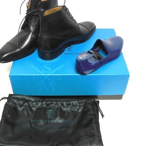ブルーソールの艶☆新品 ストールマンテラッシ SUTOR MANTELLASSI レザーブーツ ブラック 39ハーフ(2886)_画像8