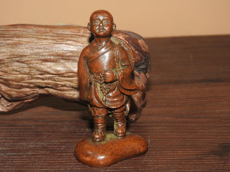 経年蔵品 赤銅細工製 禪意羅漢 茶寵 文鎮 置物 盆景 造景