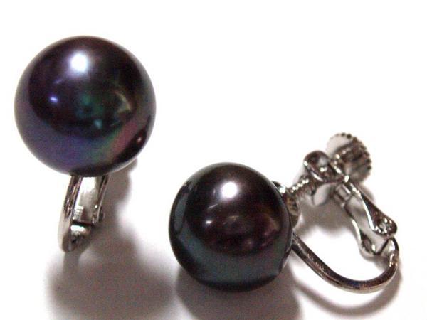 11eb巨大粒♪11mm可愛い天然淡水真珠/ブラックパールイヤリング送料無料_画像2