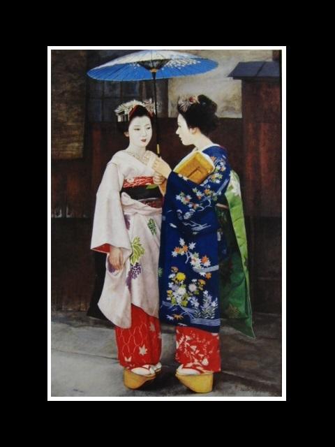 弦田英太郎「舞妓立ち話し」、京都、希少画集画、状態良好、新品高級額装付、送料無料、fan_画像3