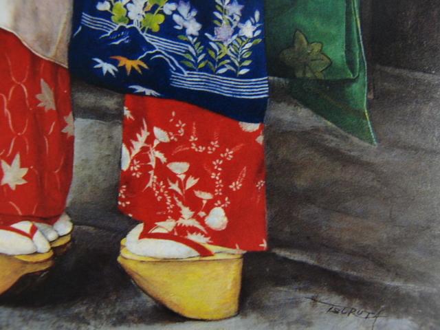 弦田英太郎「舞妓立ち話し」、京都、希少画集画、状態良好、新品高級額装付、送料無料、fan_画像2
