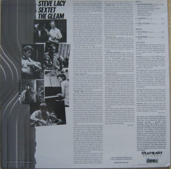 試聴♪スイスSilkheartオリジナル Steve Lacy/The Gleam_画像2