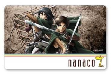 新品 進撃の巨人 nanacoカード Aタイプ エレン ミカサ_画像1