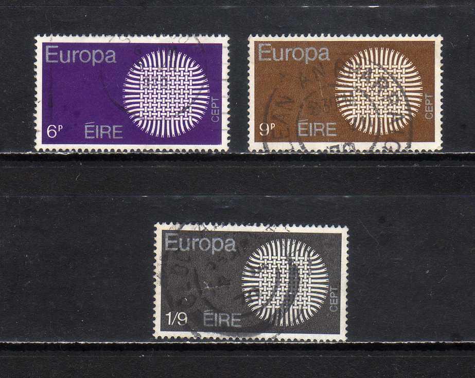 18C339 アイルランド 1970年 ヨーロッパ切手 3種完揃 使用済_画像1