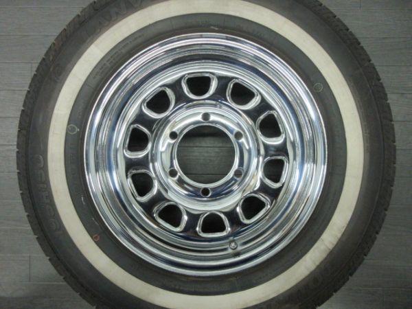 中古 タイヤホイールセット デイトナ タイプ クローム スチール 15インチ 6.5J+35 PCD 139.7 6穴 1台分 ハイエース 200系 ホワイトリボン_画像4