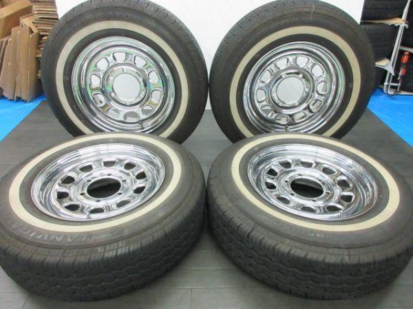 中古 タイヤホイールセット デイトナ タイプ クローム スチール 15インチ 6.5J+35 PCD 139.7 6穴 1台分 ハイエース 200系 ホワイトリボン