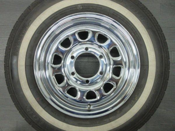 中古 タイヤホイールセット デイトナ タイプ クローム スチール 15インチ 6.5J+35 PCD 139.7 6穴 1台分 ハイエース 200系 ホワイトリボン_画像2