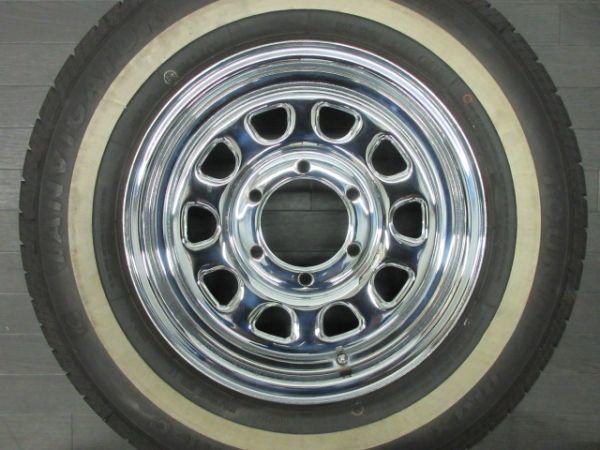 中古 タイヤホイールセット デイトナ タイプ クローム スチール 15インチ 6.5J+35 PCD 139.7 6穴 1台分 ハイエース 200系 ホワイトリボン_画像5