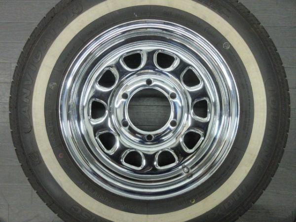中古 タイヤホイールセット デイトナ タイプ クローム スチール 15インチ 6.5J+35 PCD 139.7 6穴 1台分 ハイエース 200系 ホワイトリボン_画像3