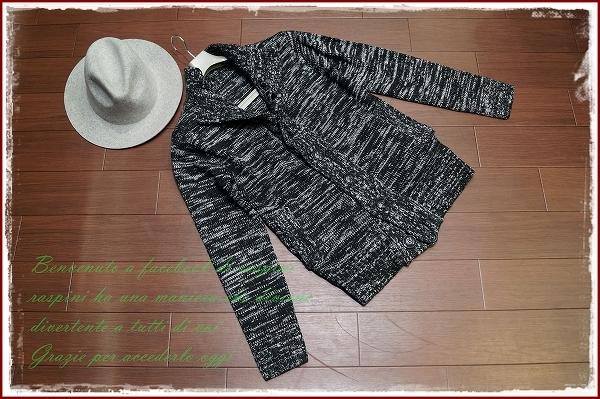 ◆◇ハイネックニット カーディガン ニットジャケット/M/白黒/safari smart ブルゾン ジャケット◇◆_画像2