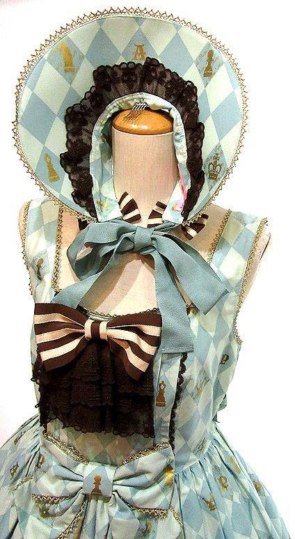 ボンネット付き Angelic Pretty Chess Chocolate ジャボ付ジャンパースカート JSK アンジェリックプリティ_画像3
