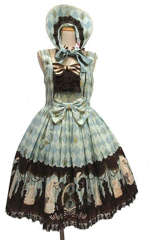 ボンネット付き Angelic Pretty Chess Chocolate ジャボ付ジャンパースカート JSK アンジェリックプリティ_画像1