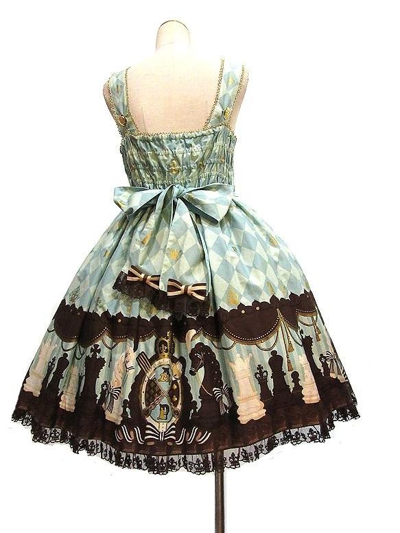 ボンネット付き Angelic Pretty Chess Chocolate ジャボ付ジャンパースカート JSK アンジェリックプリティ_画像2