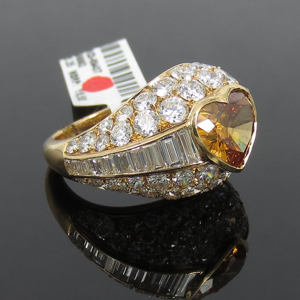 新古品《Somenzi 7ct ブラウン&ホワイトダイヤモンド》K18 カクテル・ハートリング指輪_画像2