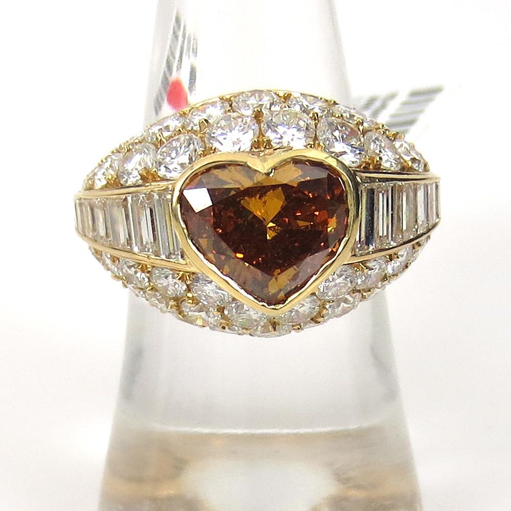 新古品《Somenzi 7ct ブラウン&ホワイトダイヤモンド》K18 カクテル・ハートリング指輪_画像5