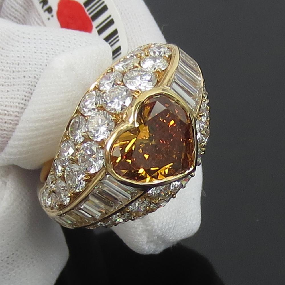新古品《Somenzi 7ct ブラウン&ホワイトダイヤモンド》K18 カクテル・ハートリング指輪_画像4
