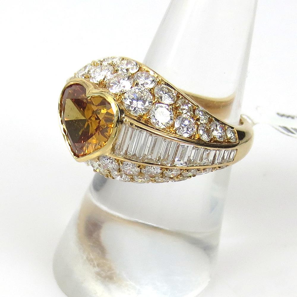 新古品《Somenzi 7ct ブラウン&ホワイトダイヤモンド》K18 カクテル・ハートリング指輪_画像6