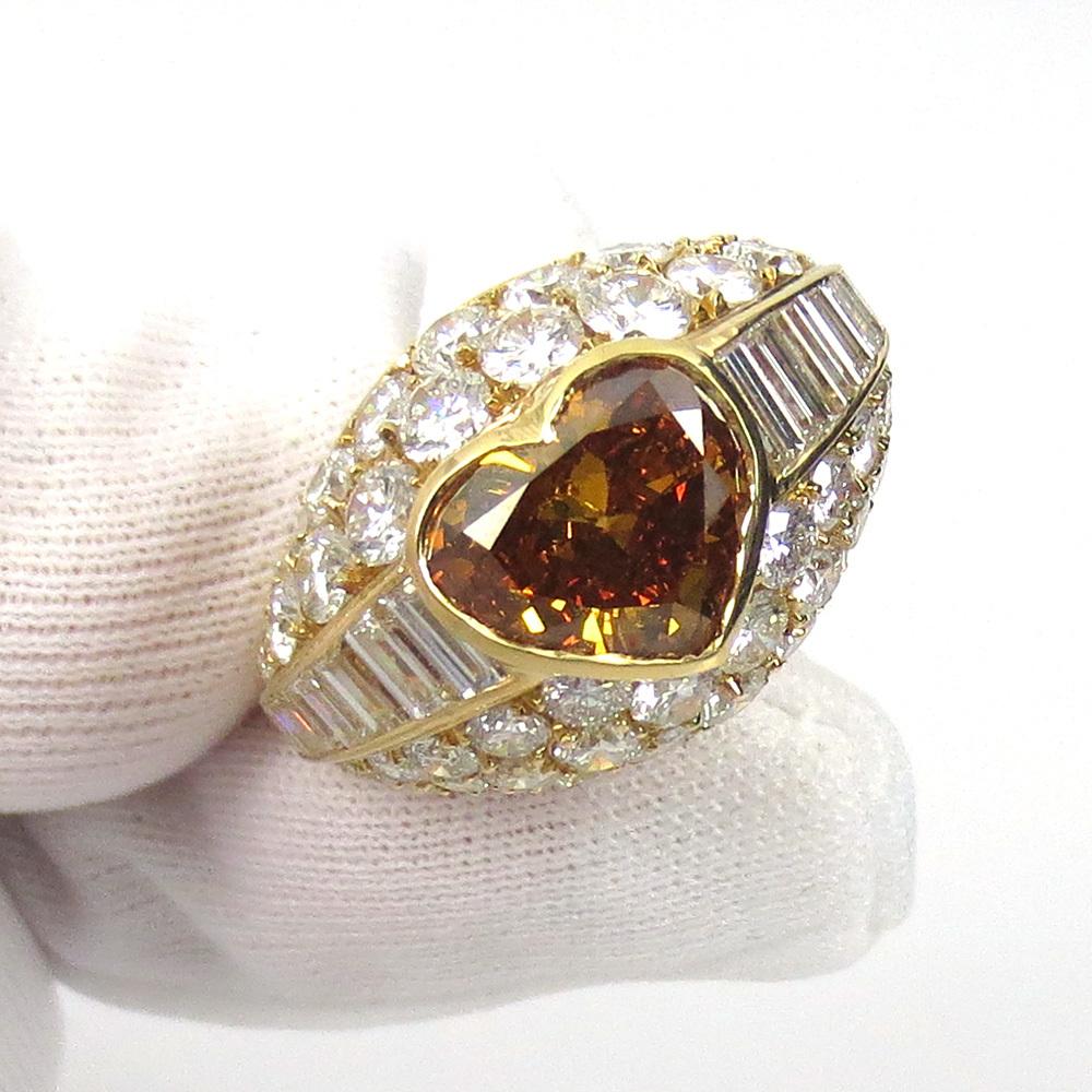 新古品《Somenzi 7ct ブラウン&ホワイトダイヤモンド》K18 カクテル・ハートリング指輪_画像8