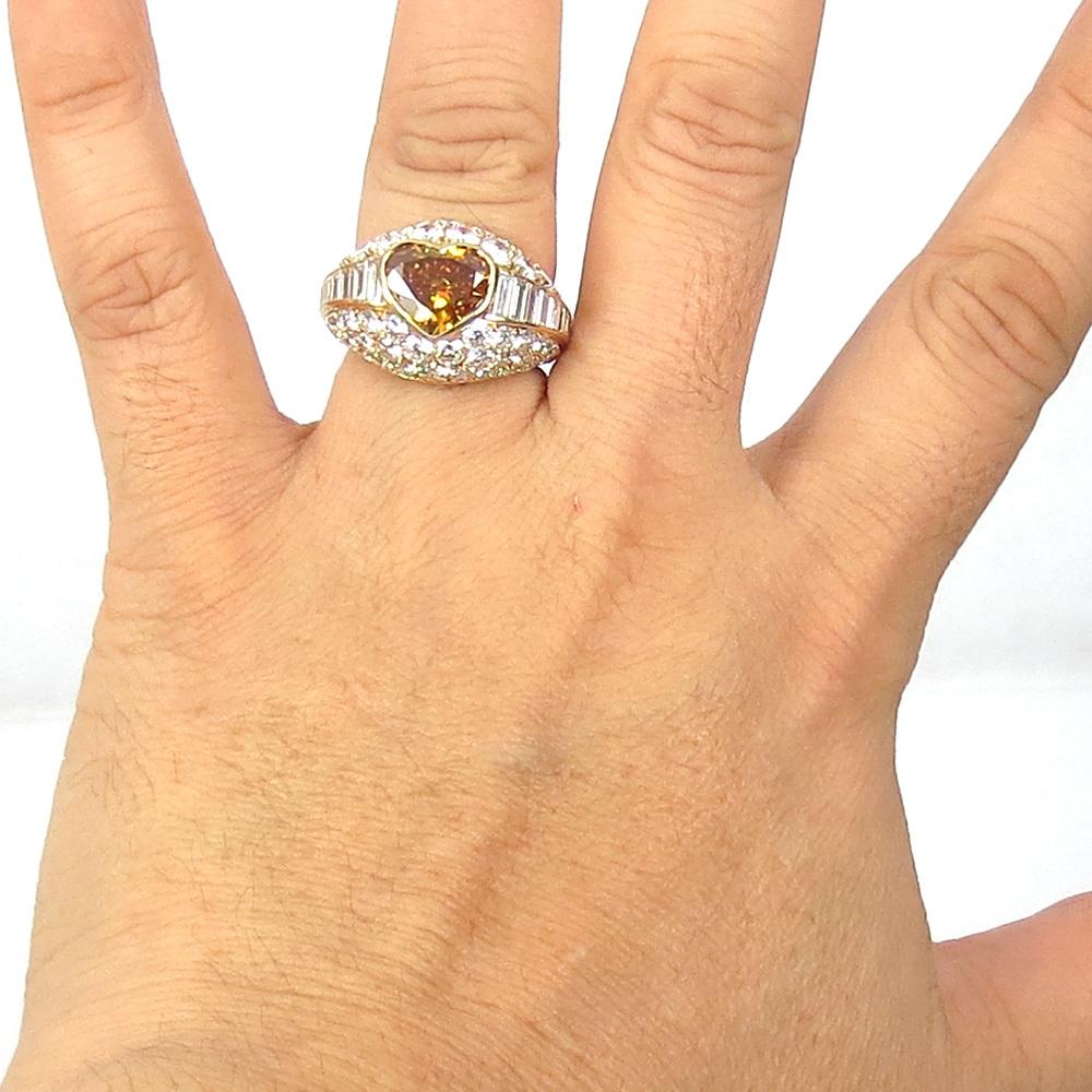 新古品《Somenzi 7ct ブラウン&ホワイトダイヤモンド》K18 カクテル・ハートリング指輪_画像9