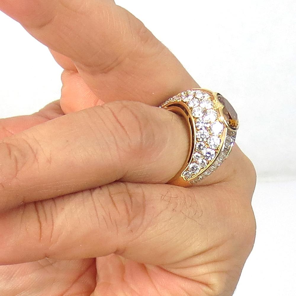 新古品《Somenzi 7ct ブラウン&ホワイトダイヤモンド》K18 カクテル・ハートリング指輪_画像10