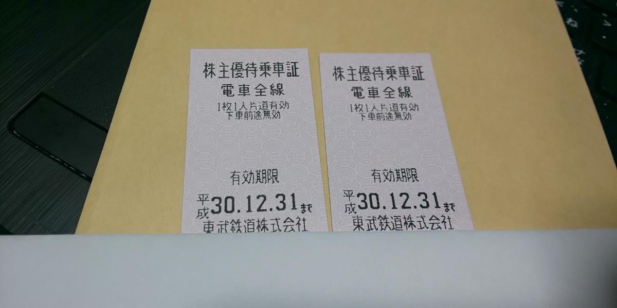 東武鉄道 株主優待乗車証 2枚 その1