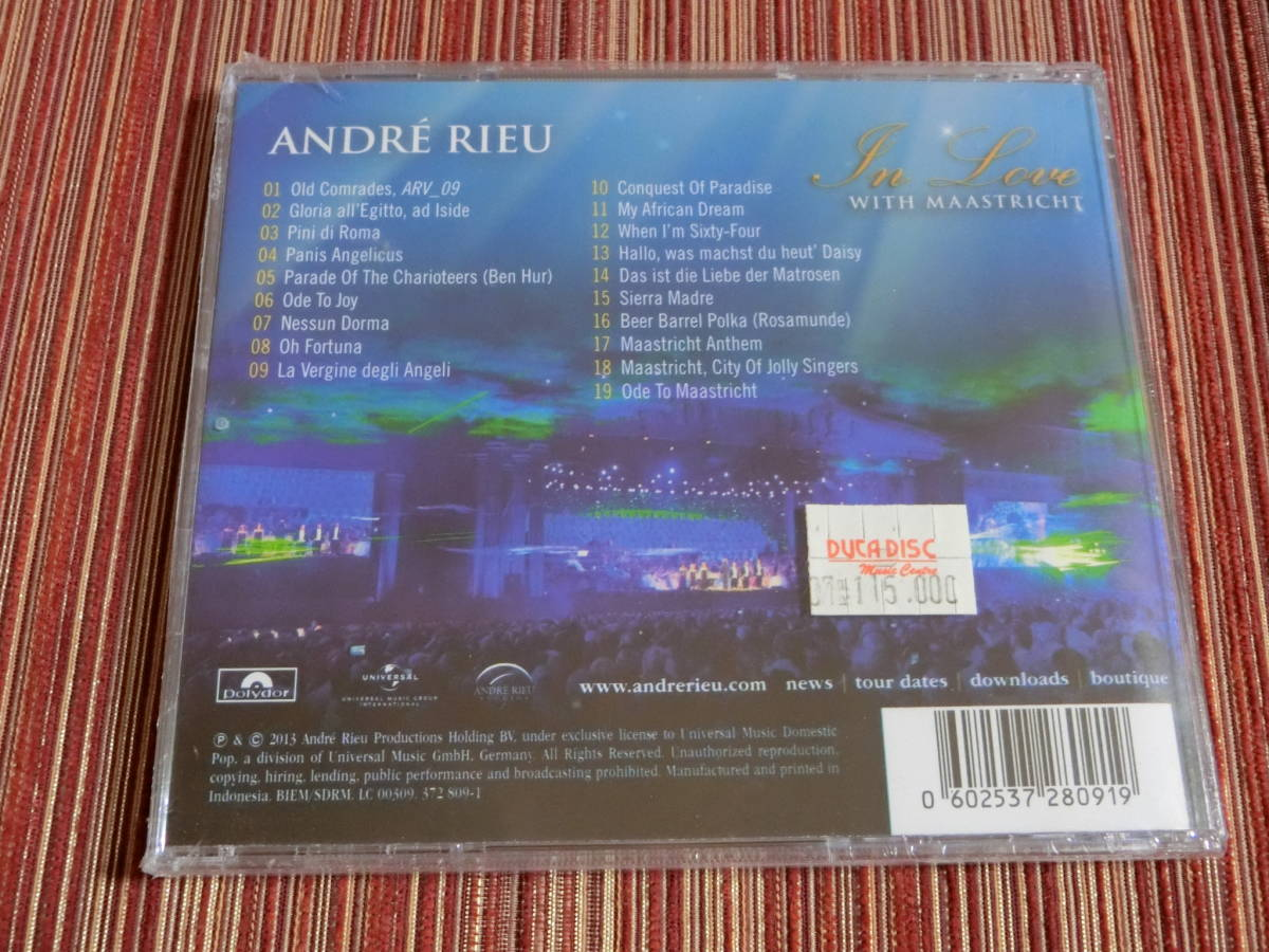 ■P8■アンドレ・リュー■ANDRE RIEU■In Love With Maastricht-a Tribute to My Hometown■輸入盤■新品■日本未発売■激レア■_画像2