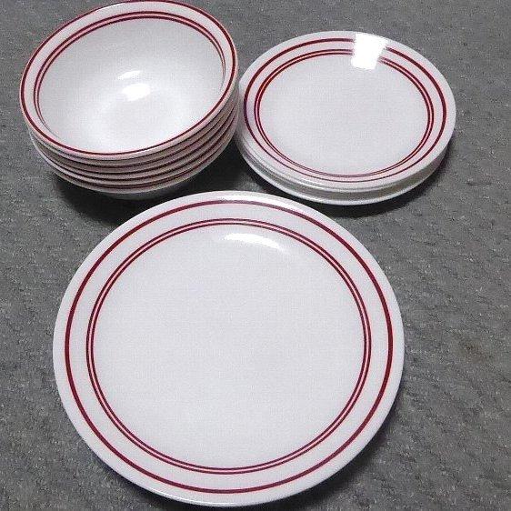 ◆◇コレール食器 レッド 3種類×6枚 合計18枚セット◇◆