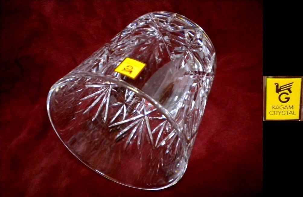 売切 稀少 レア物 廃盤品 カガミクリスタル 特選切子 オールドファッションロックグラス #2972 2客組 木箱入 容量280ml 未使用保管品_画像5