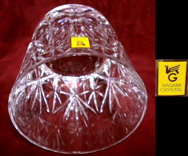 売切 稀少 レア物 廃盤品 カガミクリスタル 特選切子 オールドファッションロックグラス #2972 2客組 木箱入 容量280ml 未使用保管品_画像7