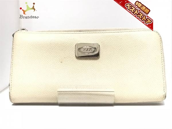 23c44253acde 代購代標第一品牌- 樂淘letao - トッズTOD'S 財布長財布レザーアイボリーL字ファスナー