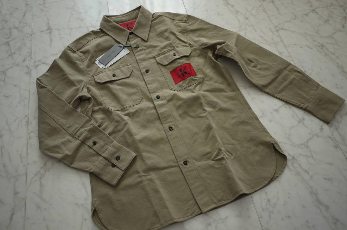 新品 未使用品 正規品 Calvin Klein Jeans カルバンクラインジーンズ ワークシャツ ベージュ L 定価 24,624 円 (あ31)_画像1
