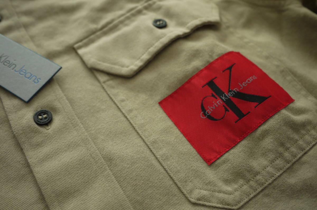 新品 未使用品 正規品 Calvin Klein Jeans カルバンクラインジーンズ ワークシャツ ベージュ L 定価 24,624 円 (あ31)_画像4