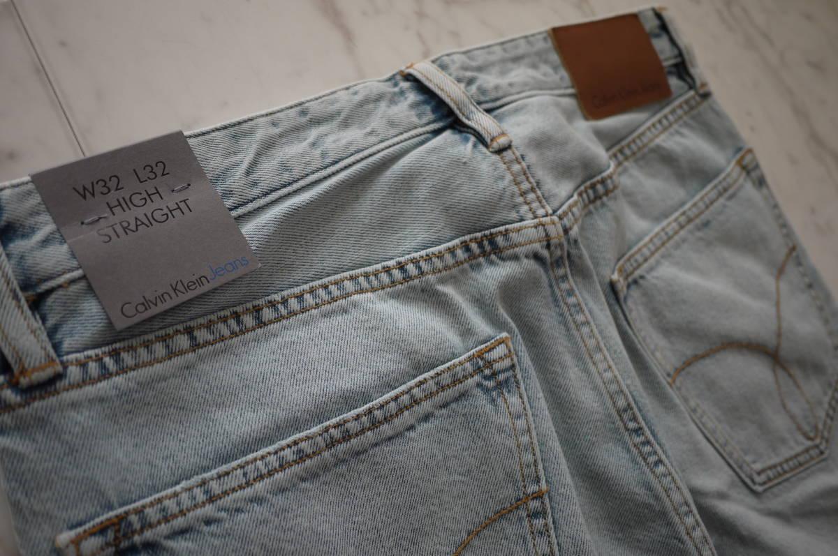新品 未使用品 正規品 Calvin Klein Jeans カルバンクラインジーンズ ハイストレートデニムパンツ ライトインディゴ 32 定価27,864円(あ31)_画像4