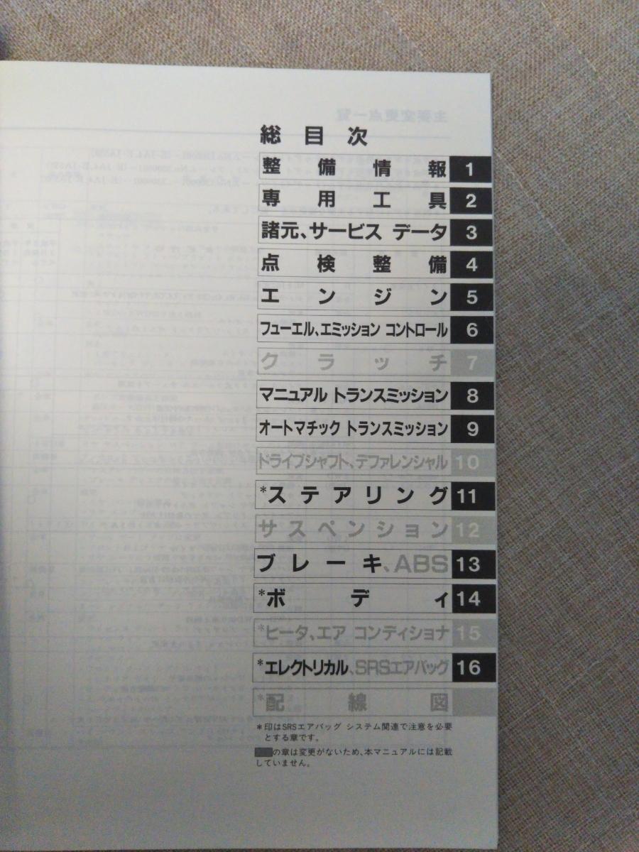 ホンダ トゥデイ サービスマニュアル追補版美品 JA4 JA5 整備書 today 送料185円_画像2