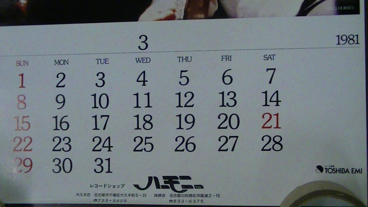 1981年3月 WILD HORSES カレンダー ポスター ワイルド・ホーシズ TOSHIBA EMI_画像4