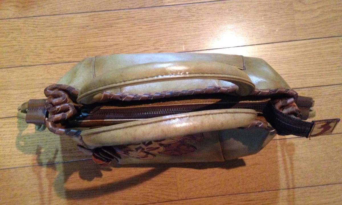 イタリア製 鞄 ハンドバッグ 花柄 本革 牛革 縦約20cm 横約31cm 奥行き約15cm 未使用 激レア ビンテージ 昭和レトロ 当時物_画像5