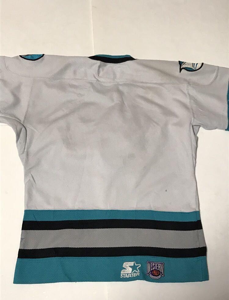 ★サンノゼシャークス SAN JOSE SHARKS NHL ホッケーシャツ ユニフォーム ゲームシャツ 90s Sサイズ スターター STARTER アイスホッケー_画像2