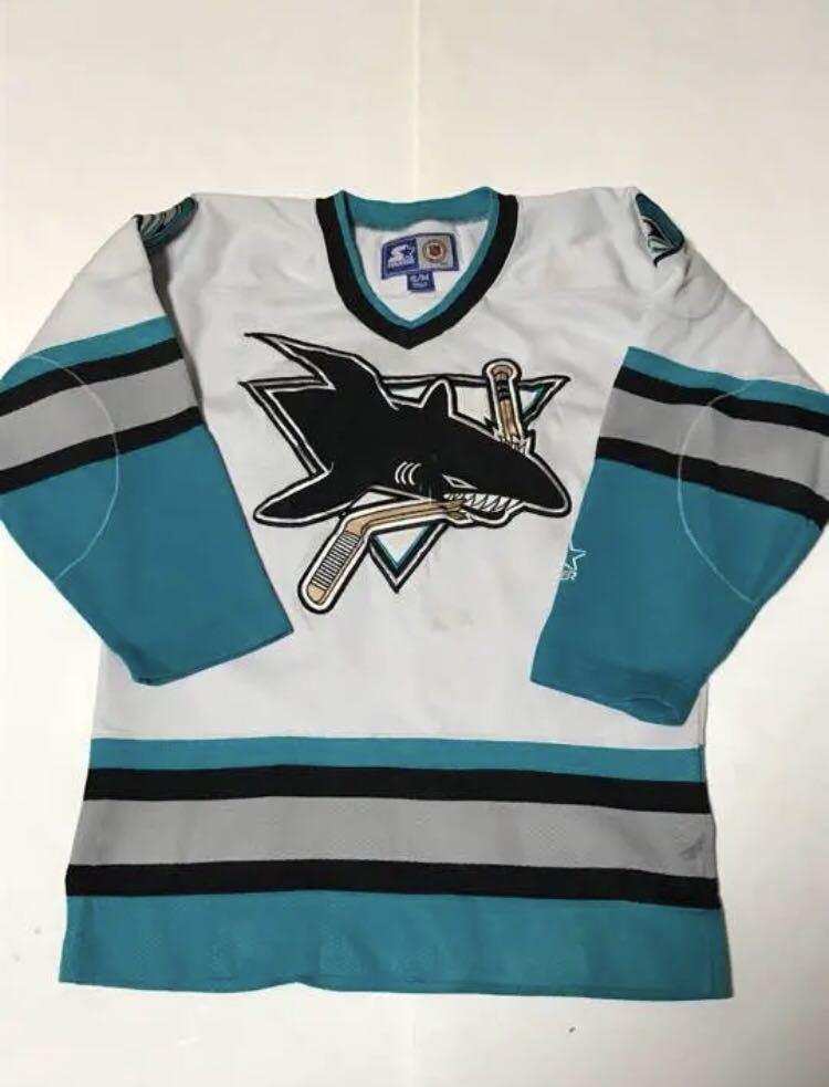 ★サンノゼシャークス SAN JOSE SHARKS NHL ホッケーシャツ ユニフォーム ゲームシャツ 90s Sサイズ スターター STARTER アイスホッケー_画像1